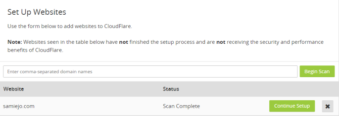 Add Websites CloudFlare Web Performance Security