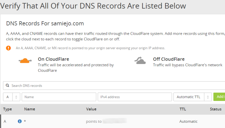 Step 2 Verify That All Of Your DNS Records Are Listed Below samiejo.com CloudFlare Web Performance Security