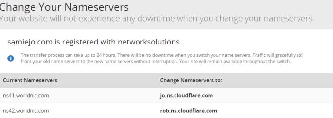 Step 4 Change Your Nameservers samiejo.com CloudFlare Web Performance Security
