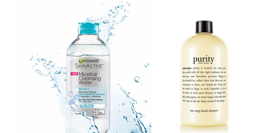 face washes I use Garnier Micellar Cleansing Water & Purity Made Simple One-Step Facial Cleanser